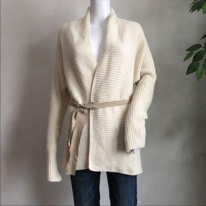 J McLaughlin Cardigan M Ivory Wrap Wool Cashmere